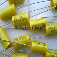 Condensadores de película de poliéster Axial amarillo, cables largos, electrónica, 0,1 uF, 630V fr, amplificador de tubo de audio, 50 Uds., venta al por mayor, envío gratis