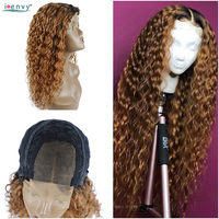 I Envy 1B 30 Blonde Water Wave Human Hair Wigs Ombre Lace Front Curly Wigs Long Brazilian Lace Wigs For Black Woman Nonremy