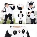 Natal Do Bebê Das Meninas Dos Meninos Crianças Panda pijama de Flanela Ponto conjuntos de Criança de Pijama Onesies Animal Pijama Roupa Das Crianças