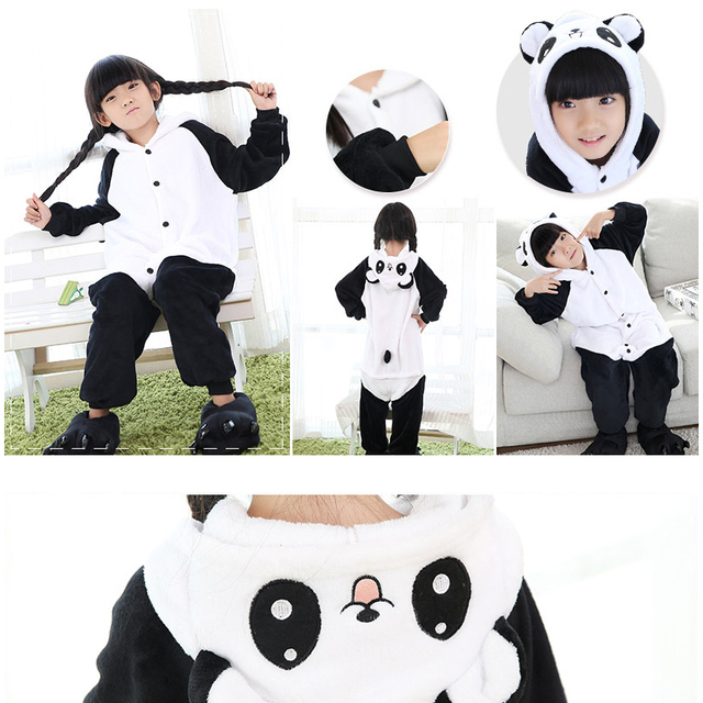 Navidad Muchachas de Los Bebés de la Panda Niños pijamas conjuntos Niño del Pijama de Franela Puntada Animal Pijamas Onesies Niños Ropa