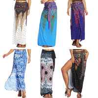 7 Color EU Size Thailand Print Womens Skirts Travel Light Casual Sexy High Waist 3D Pleated Long Loose One Piece Skirts