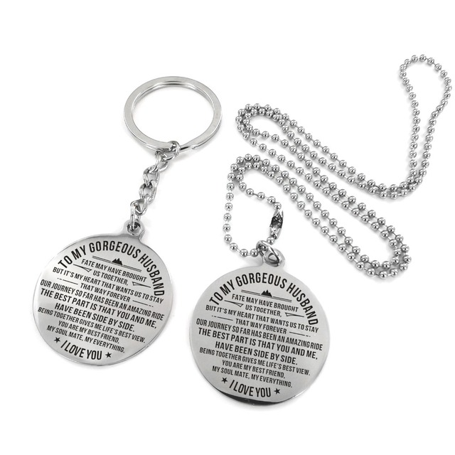 US $11 0 50% OFF|To My Husband Love Forever Necklace&KeyChain from Wife  Surprise Gifts for Men Keychains with Black Gift Box-in Key Chains from