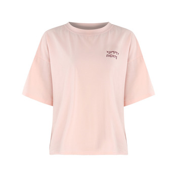 summer western style fashion cute loose print letters thin fabric short sleeve tee SML XL XXL O-neck pink woman Casual T-Shirt