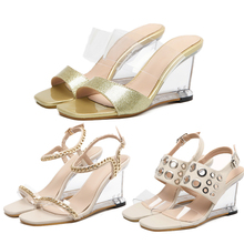 Shoes Stripper Clear Heels Sandals Women Designer PU Leather Sexy Wedges High Heels Jelly Sandals Women Sandalias Sandale Femme