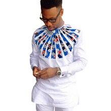 Private kundenspezifischen männer drucken langarm dashiki shirts mens patchwork afrikanische kleidung oansatz tops von afrika clothing