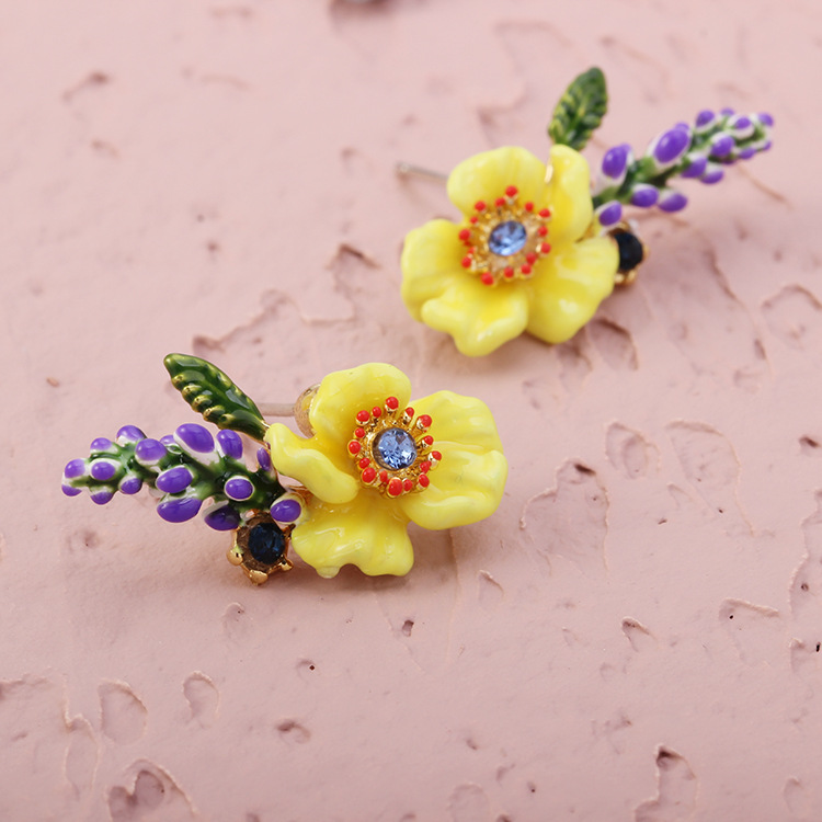 MISHA French les Brand Spring and Summer Yellow Flower Lavender Enamel Glazed Ear Clamps Earrings