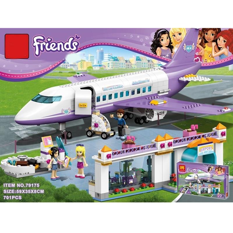 701Pcs Bevle LELE 79175 Friends Heartlake City Airport Building Block Bricks Figures Compatible 41109 Girls Friends