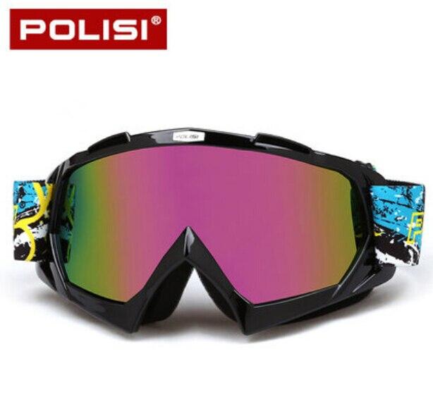 POLISI Winter Windproof Motorcycle Glasses Anti-Fog Ski Snow Snowboard Goggles Motocross Off-Road Downhill Dirt Bike Eyewear