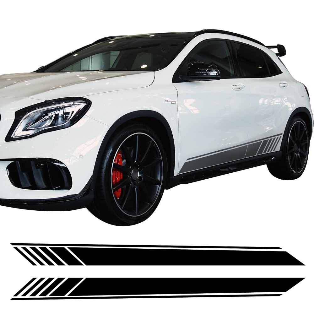 2Pcs Side Skirt Stickers Racing Stripe Vinyl Body decal Sticker For Mercedes Benz GLA Class X156 GLA45 AMG GLA180 GLA200 GLA250 car organizer door handle storage container tray box accessories suit for mercedes benz 2013 2016 gla200 gla220 gla250 gla class