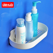 DeHUB Super Suction Cup Wall Mounted Bathroom Corner Shelf Shower Organizer Sponge Storage Rack Mini