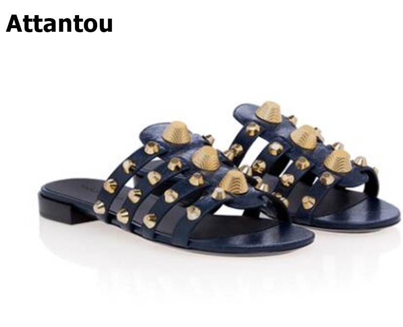 New Women Slippers Flat Casual Women Shoes Slip On Slides Beach Slippers Flip Flops Sandals Fashion Rivet Slipper plus size34 43 2016 new fashion women slides black flip flops shoes wedges pumps beading casual women s slipper sandals ps2572