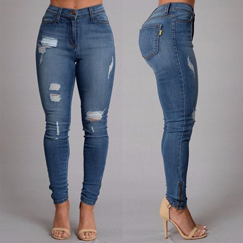 KL921 Plus size high waist jeans fashion hole ripped jeans for women side fake zipped pockets
