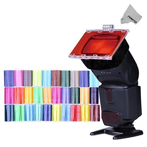 Fomito Color Gel Kit Filter 30ps w/Gels-Band & Reflector for Canon Nikon Olympus Pentax Yongnuo Neewer Godox  Speedlite