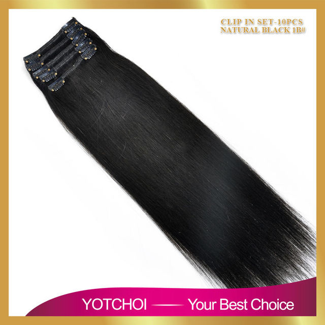 Remy virginal brasileña del pelo Clip en las extensiones 120 G Clip en extensiones del pelo brasileño 1B negro Clip en extensiones de cabello humano 200 G