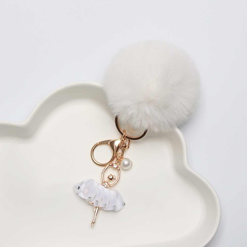 Брелок для ключей шар цепь с ключом помпон пушистая сумка Шарм ключница балетки; подарки для девочек