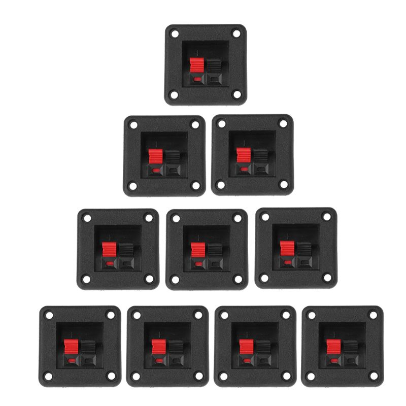 10PCS Speaker Terminal Plate 2 Position 2 Terminals Spring Clip Black Red Double Input Jack Audio Speaker