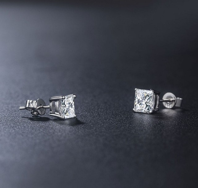2CT Piece Princess Cut Genuine Earrings LC Diamond Stud Earrings Sterling Silver Jewelry 18K White Gold.jpg 640x640 - 2CT/Piece Princess Cut Genuine Earrings   LC Diamond Stud Earrings Sterling Silver Jewelry 18K White Gold Plated