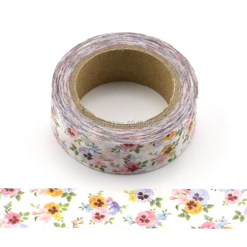 1X DIY Japanese Paper Natural Flower Washi Tape Paper Masking Tapes Adhesive Tapes Stickers Decorative Stationery Tape floral white black marble washi tape scrapbooking decorative adhesive tapes paper japanese stationery stickers masking tape 15mm 7m