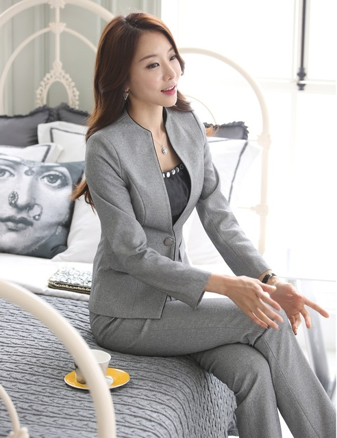 Novidade Cinza Formal Uniforme Design Business Professional Women Trabalho Ternos Com Conjuntos de Jaquetas E Calças Das Senhoras Calças de Escritório