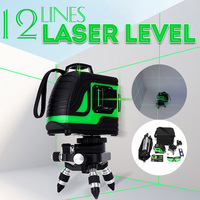 12 Lines Green Cross Line Laser Level 808nm 3D 360 Degree Rotation Auto Leveling Horizontal Vertical Laser Beam Indoor/Outdoor