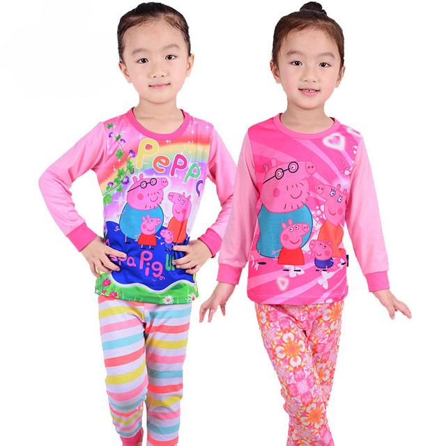Algodón de alta calidad del Otoño marca pink girls boy Pijamas ropa de los cabritos sets 2-7Y Pijamas de dibujos animados bebé ropa de noche del traje Loungewear