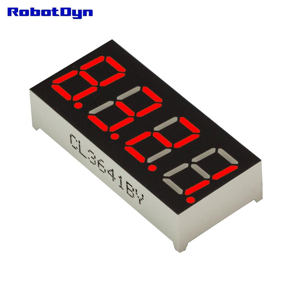 5pcs = 4-Digit 7-segments LED Display tube, decimal, RED, disp. size 30x14mm, 0.36