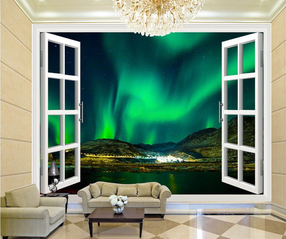ホームデコレーション3d立体窓オーロラ夜空背景壁壁紙用絵画