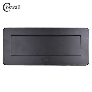 Image 2 - Coswall Zinklegering Plaat 16A Slow Pop Up 3 Power Eu Socket Kantoor Vergaderzaal Hotel Tafel Desktop Outlet Matte zwarte Cover