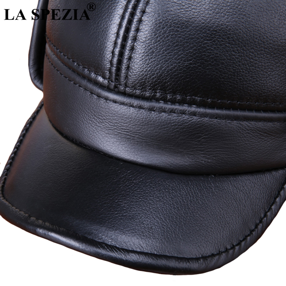 Winter Baseball Caps Men Genuine Cow Leather Warm Duckbill Hat Male Black  Earflaps Luxury Italian Vintage Snapback Cap 562acbd3c2e3