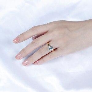 Image 5 - Transgems 14K 585 שני טון זהב Moissanite אירוסין טבעת לנשים מרכז 2ct 8mm F צבע Moissanite זהב טבעת עם מבטא
