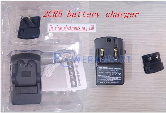 HOT NEW Powersmart 2CR5 6 V carregador de bateria da câmera de lítio recarregável carregador de bateria