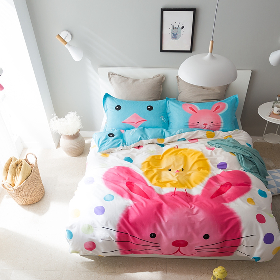 font b Cute b font cartoon rabbit print duvet cover set cotton duvet cover blue
