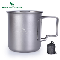 Boundless Voyage 420ml Titanium Cup With Cup Lid Camping Mug Outdoor Water Tea Cup