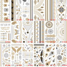 Mixed 5 Sheets Lot 21x10cm Gold Tattoo Bracelets Metal Temporary Tattoo Women Flash Metalic Fake Golden Silver Tattoos BMTLOT3