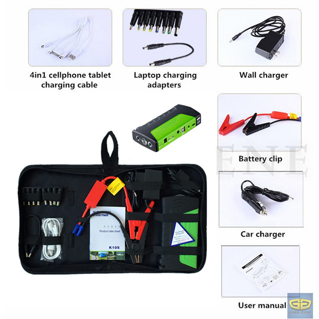 Best Selling 9000mAh 12V Car Battery Booster Charger 400A Peak Jump Starter 2USB Power Bank Safety Hammer SOS Lights Free Ship