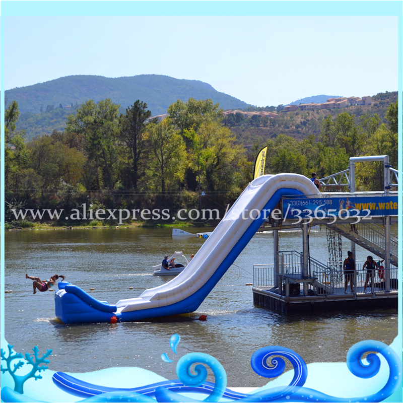 Mega inflatable waterslide in sea,inflatable floating slide, Giant Inflatable yacht water Slide for sale funny inflatable slide water slide for sale