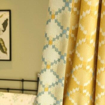 Custom curtain modern jacquard curtain Nordic retro shading bedroom window livingroom blackout curtain drape tulle M157
