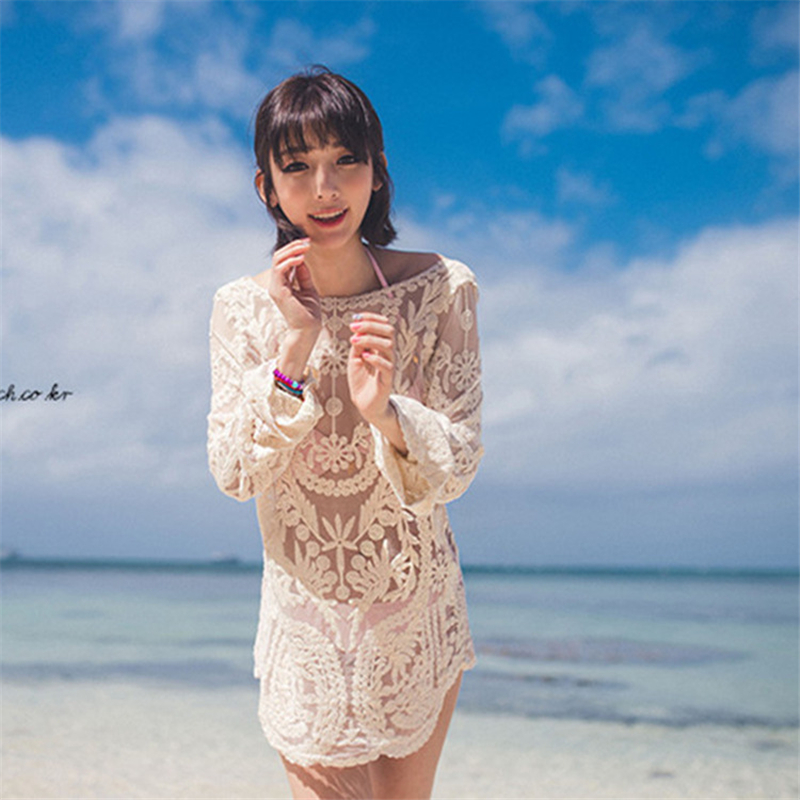 2018 Summer Popular Sexy Women Dresses Fashion Lace Full Sleeve Hollow Out Illusion Ladies Beach Dress SH9020