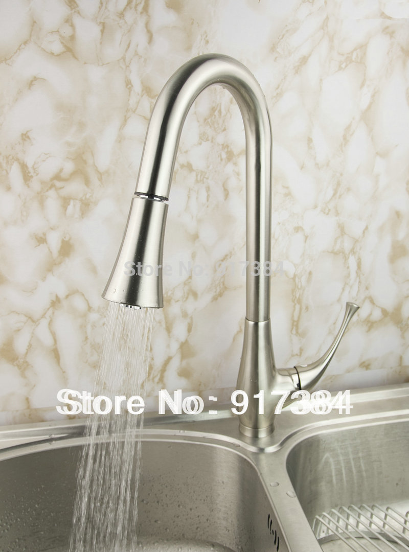Pull Out Deck Mount Single Handle Perfect Kitchen Sink Faucet Basin Polished Nickle Brushed Mixer Tap