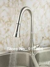 Вытяните крепление одной ручкой идеальный Кухня Раковина кран бассейна полированный никель Матовый смесители кран JN8527-1