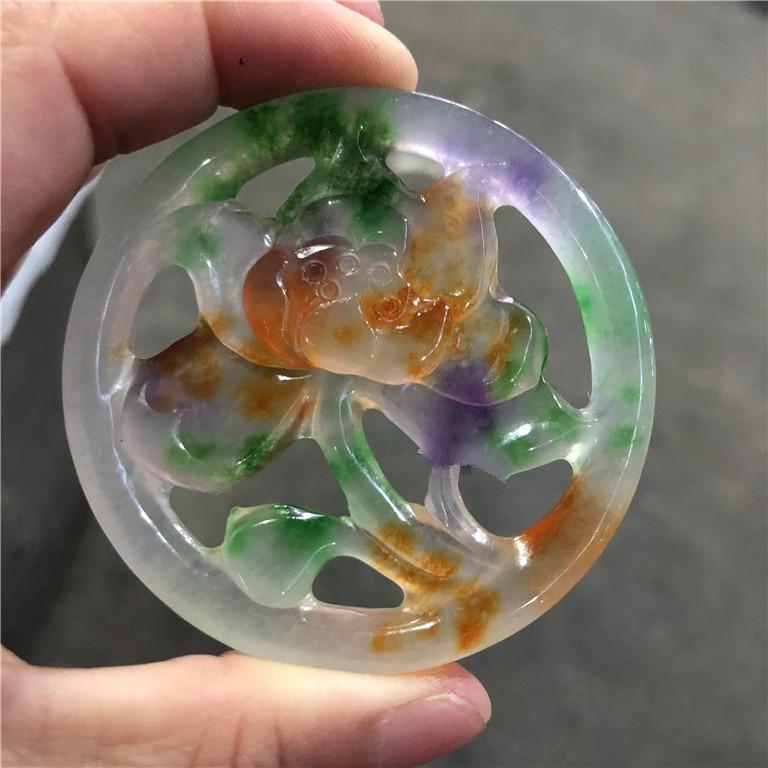 Ijs verscheidenheid Birma yu EEN goederen tri kleur ronde card hollow ingenieuze carving dubbelzijdig gegraveerd lotus violet pluis groen/-in Amulet van Sieraden & accessoires op  Groep 1