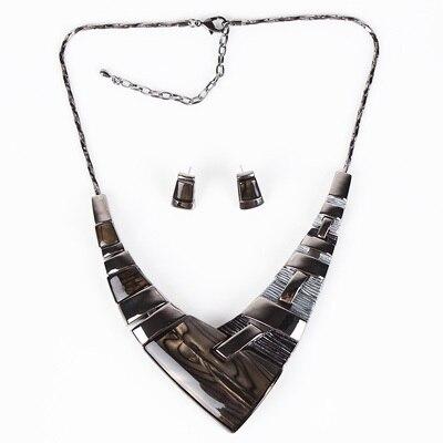 MS20101 Модный Ювелирный Набор, бронзовое покрытие, яркие цвета, высокое качество, женское ожерелье, серьги, набор, свадебные ювелирные изделия - Окраска металла: Gray
