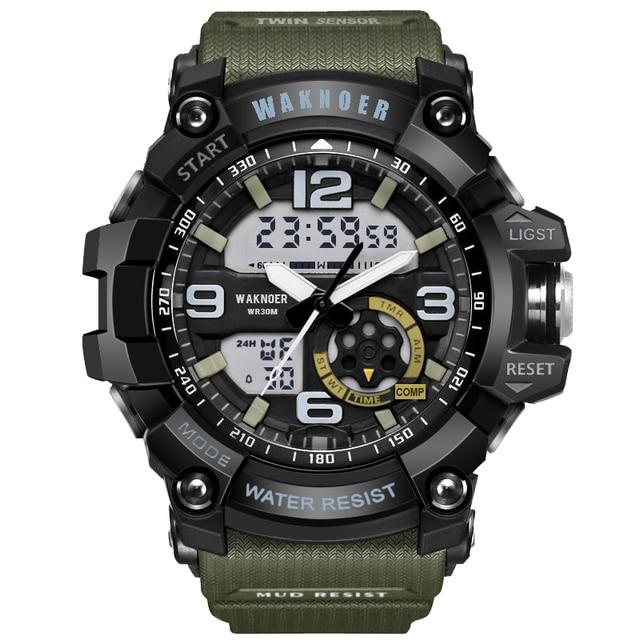 17d7e8ff769 WAKNOER Relógios Top Marca de Luxo Dos Homens Do Esporte Multifuncionais  Relógios Militares À Prova D