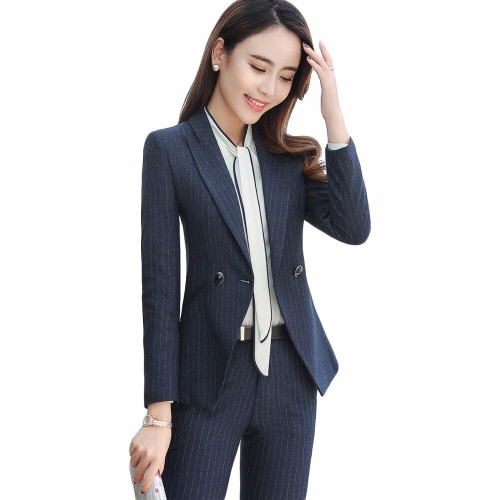 2018 คุณภาพสูงผู้หญิงชุดสูทธุรกิจสำนักงาน Lady Work Wear 2 ปุ่มเสื้อแขนยาวกับกางเกง 2 ชิ้นชุด-ใน ชุดสูทกางเกง จาก เสื้อผ้าสตรี บน   1