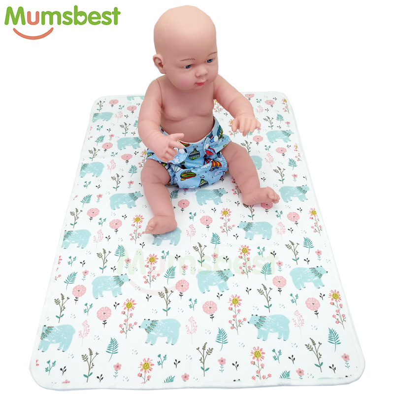 [Mumsbest] Baby Diaper Changing Pads Washable Travel Nappy Mat Waterproof Newborn Baby Changing Mat Cover Size: 70cmx50cm