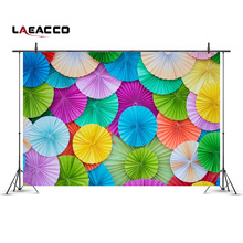 Laeacco Colorful Round Paper Flowers Wall Scene Photography Backgrounds Vinyl Customs Photographic Backdrop For Photo Studio
