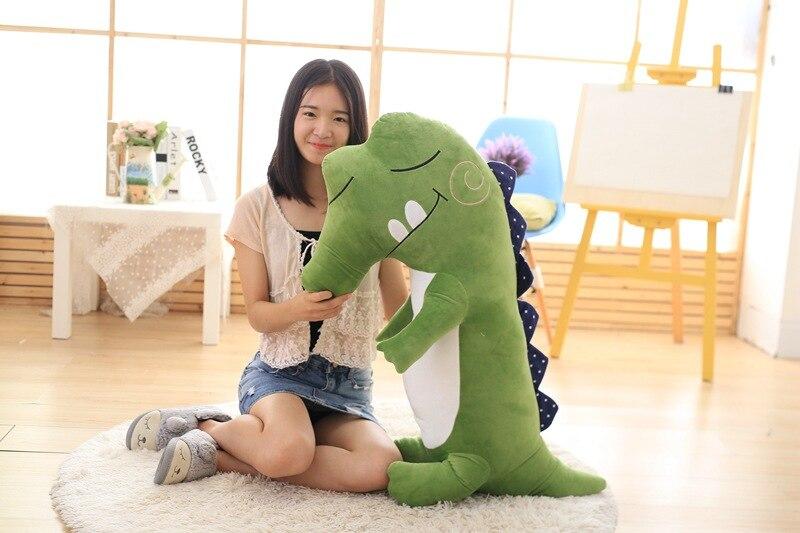 Grand 90 cm dessin animé crocodile vert peluche oreiller doux cadeau d'anniversaire b1499
