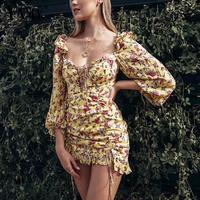 Summer dress 2019 Boho floral print dress women sexy lace up bow yellow dress female casual korean clothes party dress vestidos