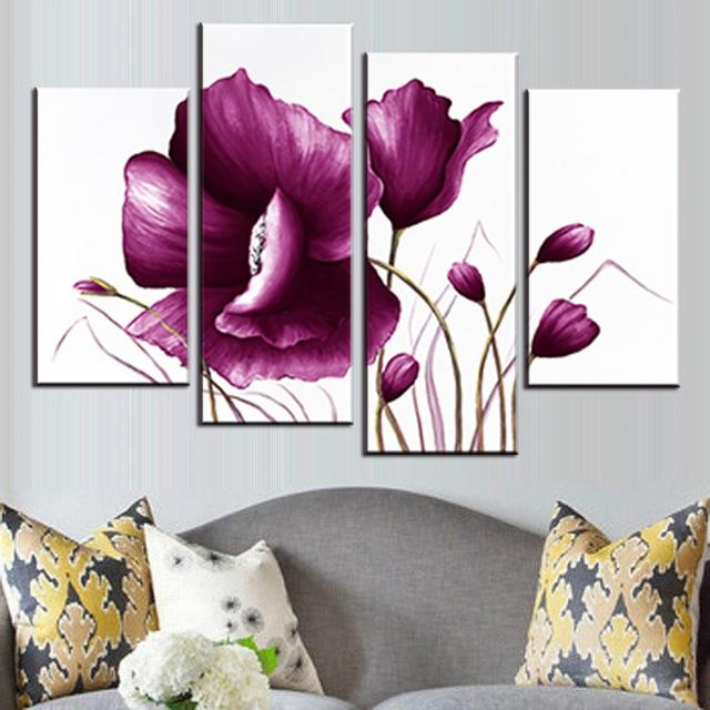 Aliexpress buy 4 pcsset romance big flower painting modern 4 pcsset romance big flower painting modern purple flower in white background painting print mightylinksfo
