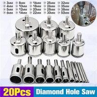 Doersupp 20Pcs 3 50mm Diamond Drill Bits Set Hole Saw Cutter Tool Glass Marble Granite Top